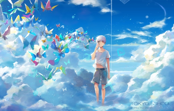 Photo Wallpaper The Sky Clouds Butterfly Anime Art Guy Tokyo