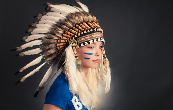 Picture girl, face, feathers, paint, headdress