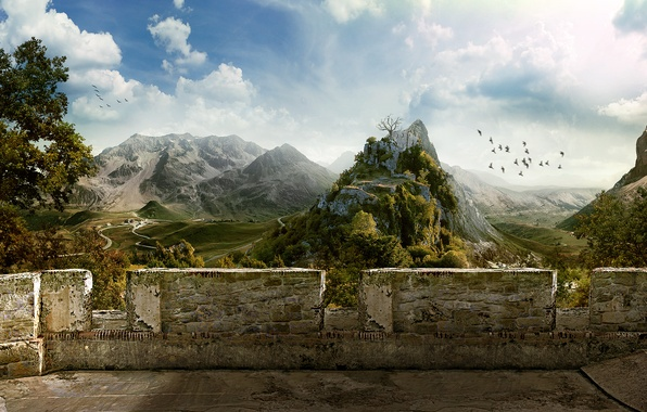 Picture the sky, mountains, birds, wall, village, 151, Ruins, Balcony