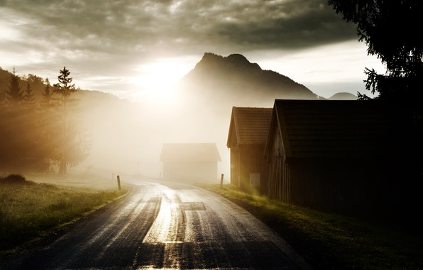 Picture road, the sun, light, trees, mountains, clouds, dawn, home, hill, solar