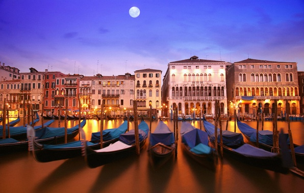 Picture water, light, reflection, river, the moon, building, home, boats, the evening, lighting, lights, channel, architecture, …