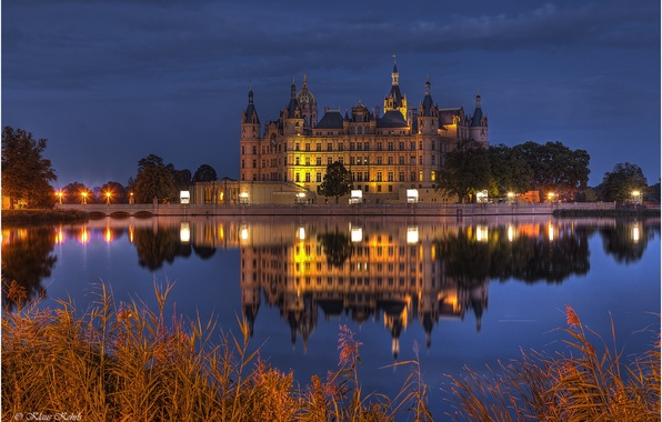 Picture the sky, night, lights, lake, reflection, castle, Germany, lighting, blue, Schwerin