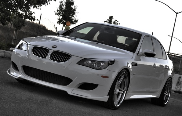 Picture road, white, trees, bmw, BMW, lights, white, sedan, front view, e60, evwning