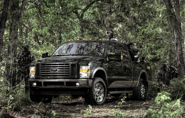 Picture forest, background, people, black, Ford, Ford, jeep, SUV, camouflage, pickup, the front, F-350, Super Duty, …