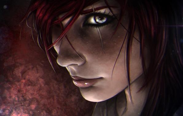Picture girl, face, scar, lol, League of Legends, katarina