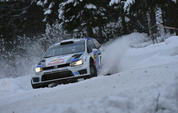 Picture Winter, Auto, Snow, Sport, Volkswagen, Skid, Red Bull, WRC, Rally, Rally, Polo, Polo, S. Ogier