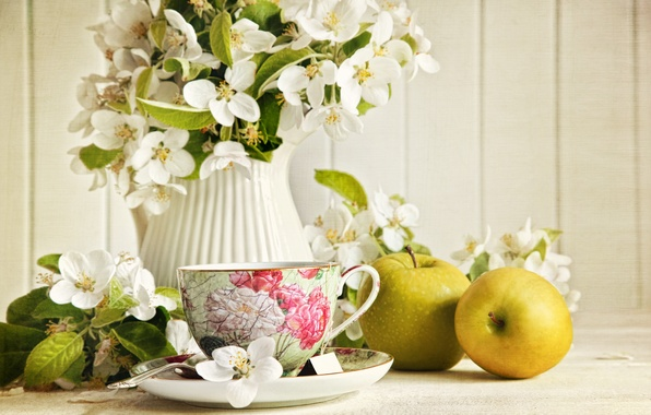 Picture flowers, tea, apples, green, Cup, pitcher, Jasmine
