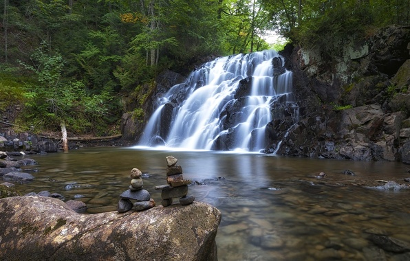 Picture forest, river, stones, waterfall, Canada, Ontario, Canada, Ontario, inuksuk, Robertson Creek Waterfall, Algoma Highlands, falls …