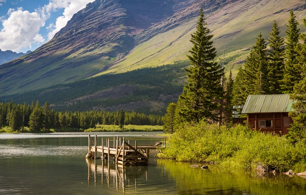 Picture the sky, trees, mountains, lake, house, USA, the bridge, Glacier National Park, Montana, Hike Lake