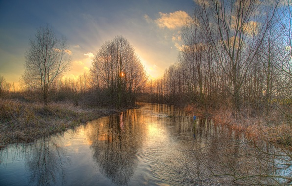 Picture water, trees, reflection, river, ruffle, Spring, Wümme depression, Wümme, Fischerhuder, Median, Matthias Kahrs, солнцеLandschaft
