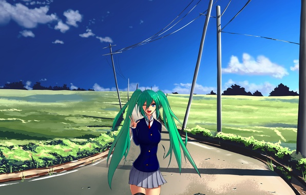Picture road, the sky, clouds, lawn, posts, hair, art, blue, Vocaloid, Vocaloid, long, green, Hatsune miku
