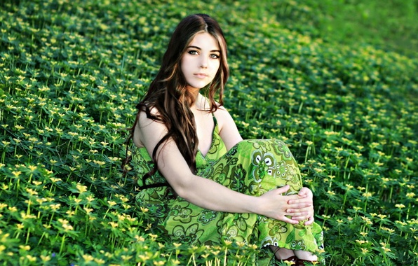Picture field, summer, girl, flowers, nature