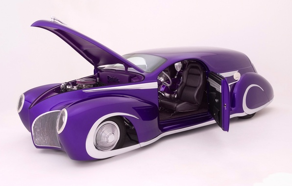 Picture Machine, on a white background, the purple car, low rise, open door and hood, lincoln …