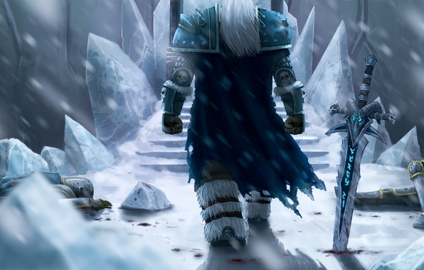 Picture winter, snow, sword, ice, Blizzard, corpses, wow, world of warcraft, arthas, lich king, fanart
