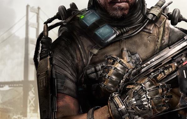 Picture bridge, weapons, smoke, hand, soldiers, lips, armor, beard, the exoskeleton, the vest, Activision, Sledgehammer Games, …