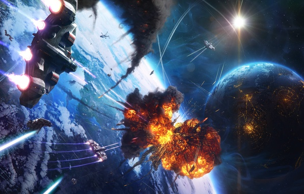 Picture stars, the explosion, smoke, people, planet, ships, Space, the battle