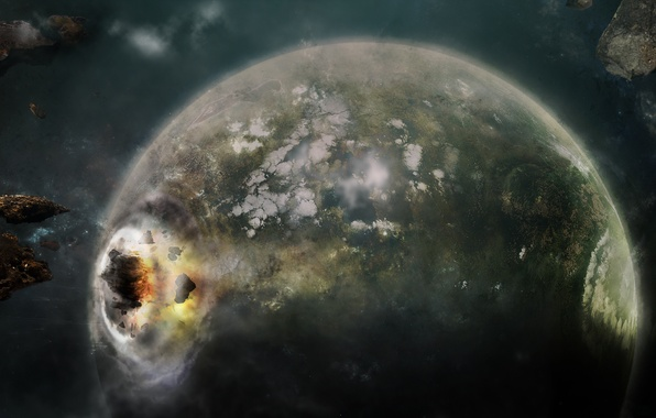 Picture the explosion, Apocalypse, planet, asteroids, Space, Earth, clash