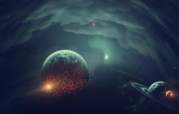 Picture space, fiction, planet, art, destruction