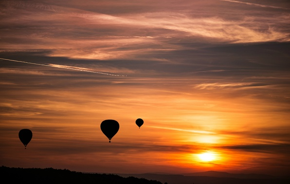 Picture the sky, the sun, sunset, balloons, The evening, orange
