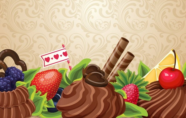 Picture abstraction, berries, the sweetness, chocolate, cake, fruit, cream, chocolate, abstraction, fruits, cream, cakes, sweets, berries