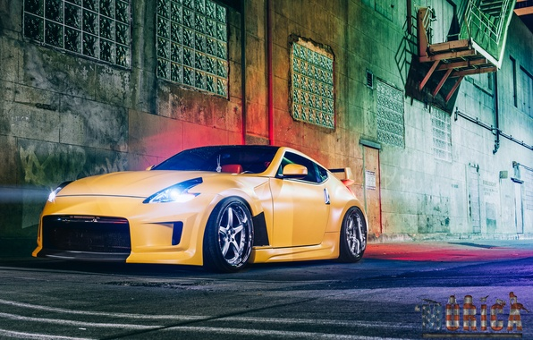 Picture machine, auto, night, ladder, optics, before, Nissan, auto, 370z, Wheels, Z34, Project 1