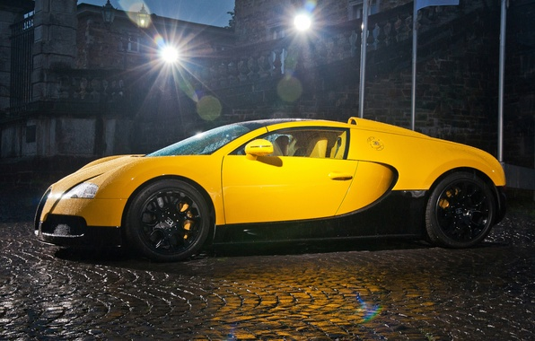 Picture Bugatti, veyron, light, supercar, rain, yellow, drop, night, building, grand sport, middle east edition