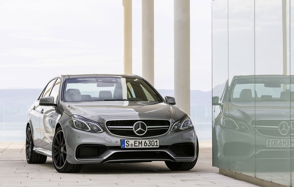 Picture Mercedes-Benz, Glass, Reflection, Machine, Grey, AMG, The front, E 63