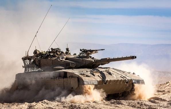 Picture sand, field, tank, combat, Merkava, main, Merkava, Israel