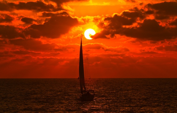 Picture sea, the sky, the sun, clouds, sunset, clouds, boat, yacht, sail