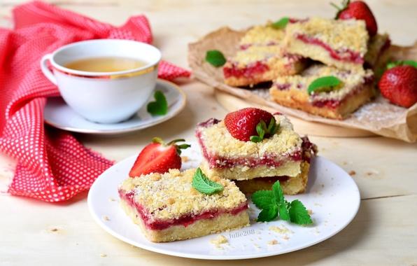 Picture tea, strawberry, pie, mint, cakes