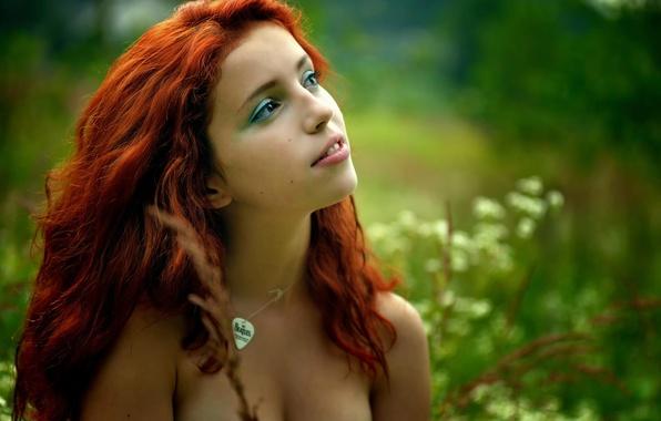 Picture look, reverie, nature, portrait, makeup, redhead, Ira