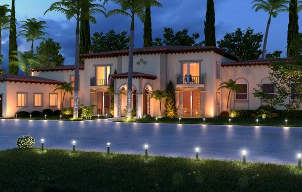 Picture house, style, Villa, the evening, house, villa, exterior, Palma., exterior, hoom