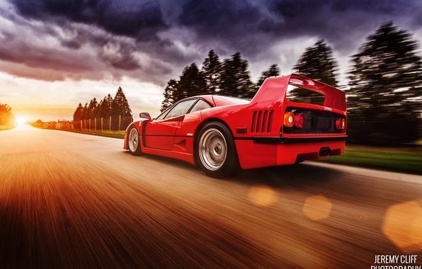 Picture road, light, red, clouds, glare, speed, Ferrari, F40