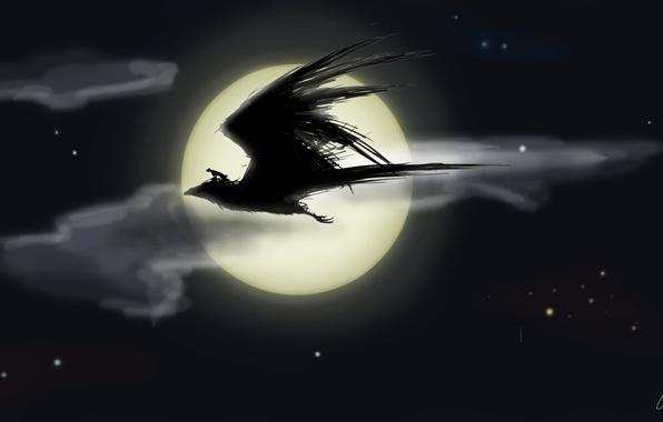 Picture night, bird, the moon, people, stars, rider, flight, fantasy