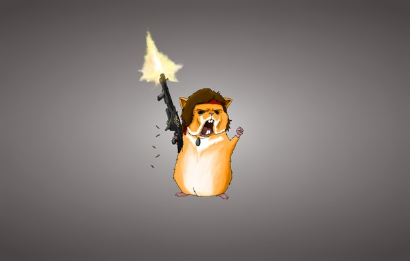 Picture weapons, minimalism, hamster, machine, Guinea pig, bullets, light background, rodent, hamster, rambo, Rambo, red armband