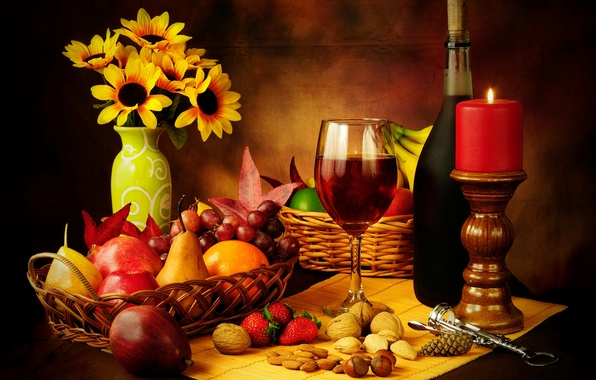 Picture wine, red, basket, apples, glass, bottle, candle, strawberry, grapes, fruit, nuts, still life, pear, corkscrew