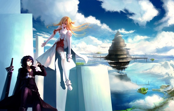 Picture girl, clouds, the city, weapons, tower, art, plate, guy, in the sky, sword art online, …