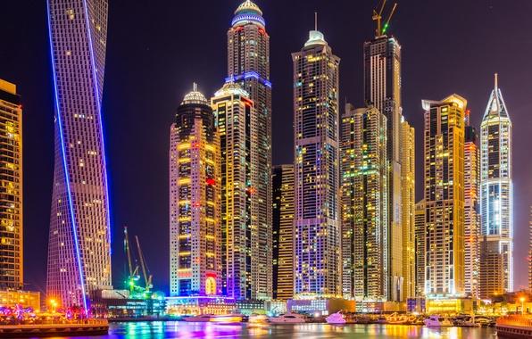 Picture city, lights, colorful, Dubai, night, skyscrapers, building, splendor, arab emirates