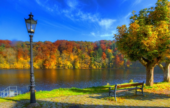 Picture autumn, the sky, trees, bench, nature, river, photo, HDR, Germany, lights, Ulmen