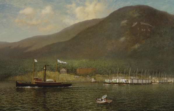 Picture mountains, river, boat, ship, tug, painting, James Gale Tyler
