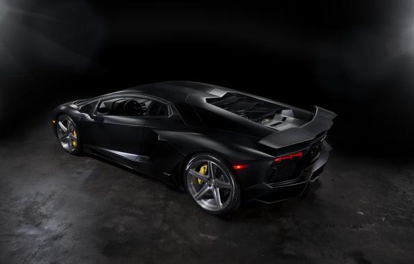 Picture black, Matt, lamborghini, drives, black, rear view, headlights, aventador, lp700-4, Lamborghini, aventador