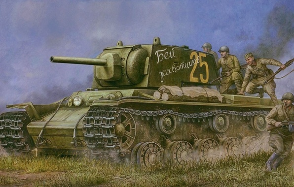 Picture war, art, tank, infantry, Soviet, contraataca