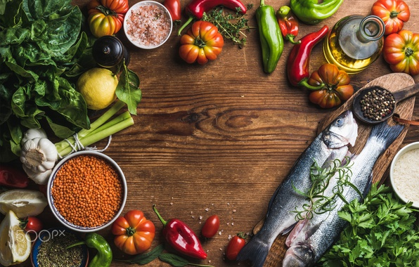 Picture fish, table, food, fish, vegetables, seasoning