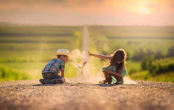 Picture road, sand, dust, boy, space, girl