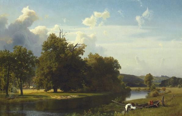 Picture landscape, river, boat, picture, Albert Bierstadt, Westphalia