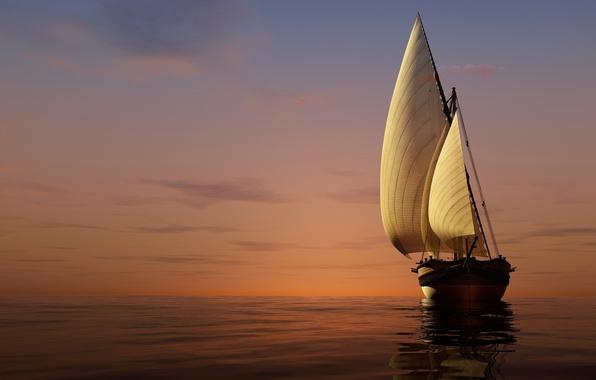 Picture sea, the sky, sunset, yacht, horizon, sails, 3D