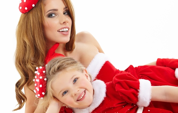 Picture girl, smile, gift, family, costume, girl, mom, daughter