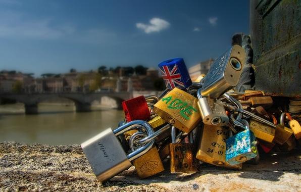 Picture bridge, Rome, Italy, Italy, locks, Rome, locks, Ponte Sant'angelo, Ponte Sant'angelo, St Angelo bridge