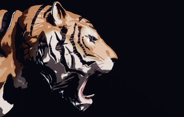 Picture tiger, rendering, background, Sher Khan