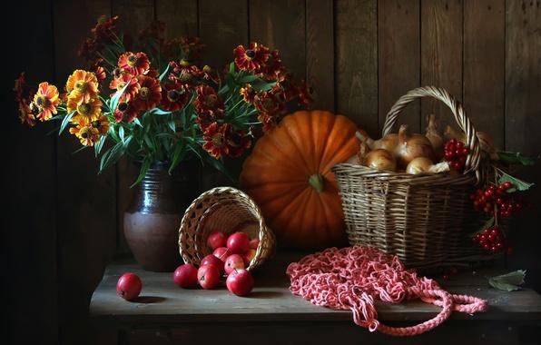 Picture flowers, basket, apples, pumpkin, pitcher, still life
